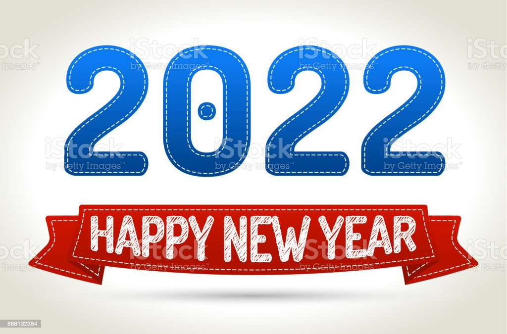2022 - Happy new year- Red ribbon with shadow on light background. vector art illustration