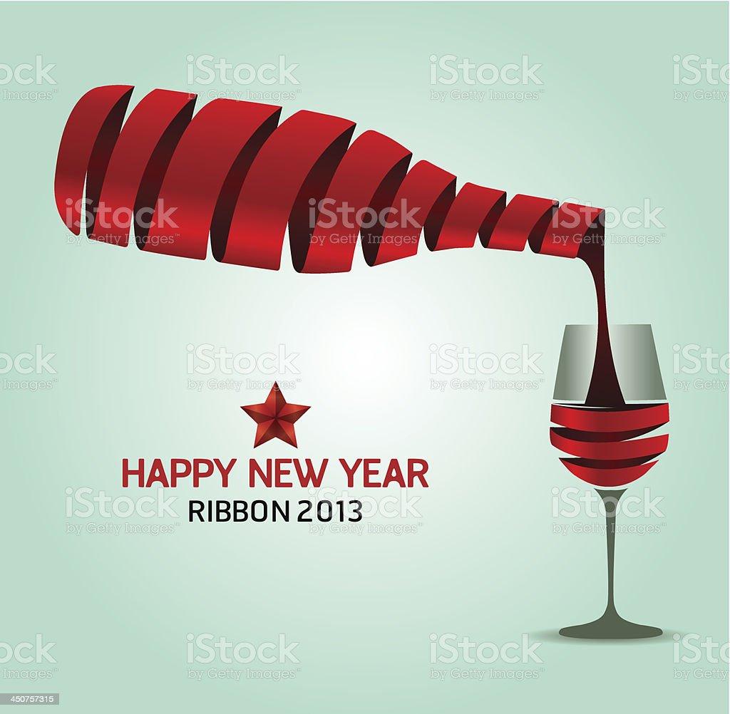 Happy new year  ribbon wine bottle shape.Vector illustration. concept royalty-free stock vector art