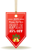 Happy New Year sale forty five percent limited time offer with jingle bells on a shiny red price tag on a rope.