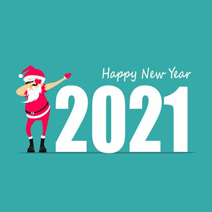 Happy New Year! Santa Claus dancing dab move. Greeting card 2020.   vector illustration
