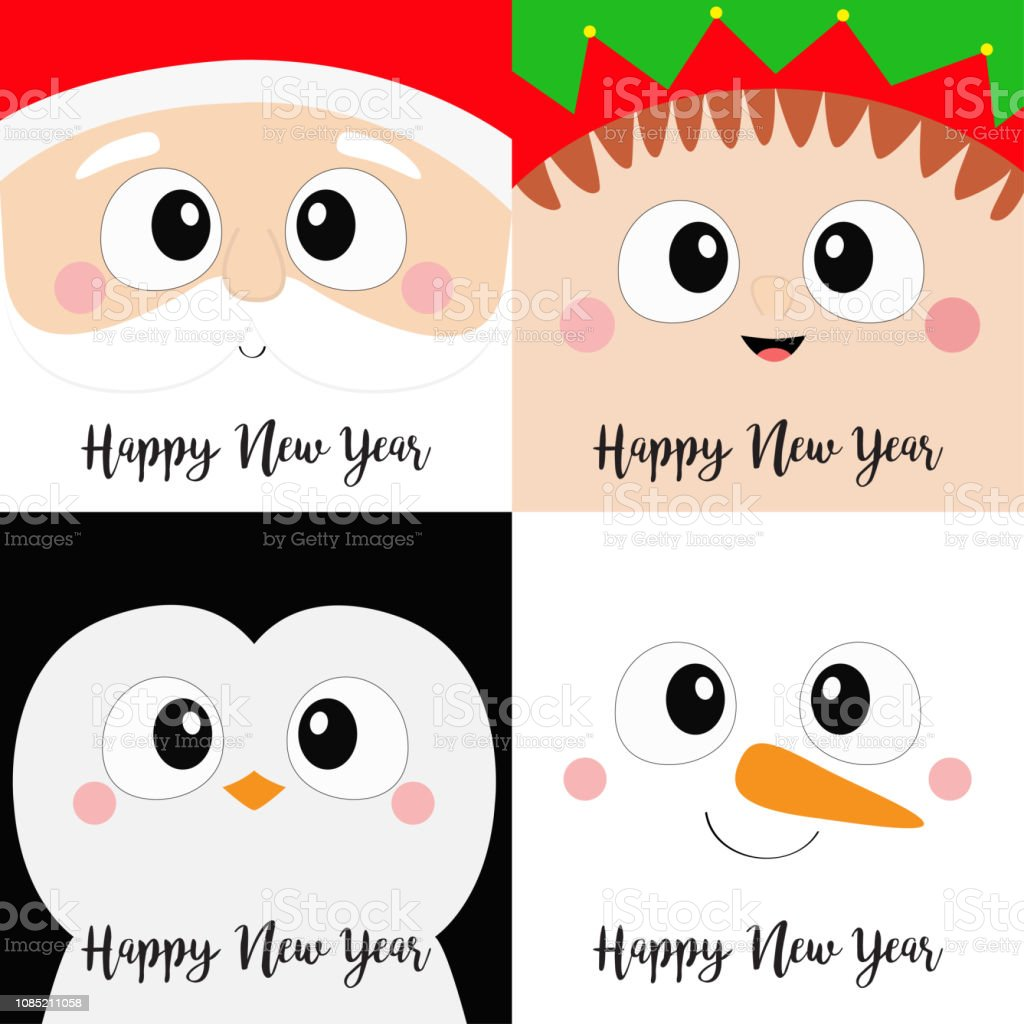 97f9681d2977b Happy New Year Santa Claus Elf Snowman Penguin Bird Square Face Head ...
