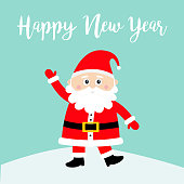 Happy New Year. Santa Claus on snowdrift. Merry Christmas. White moustaches, beard. Red hat. Cute cartoon funny kawaii baby character. Greeting card. Flat design. Blue background. Vector illustration