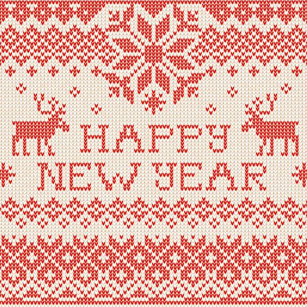 bildbanksillustrationer, clip art samt tecknat material och ikoner med happy new year: scandinavian or russian style knitted embroidery - älg sverige