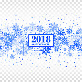 2018 Happy New Year seamless pattern with blue repeated snowflakes on white transparent checkered background. Isolated