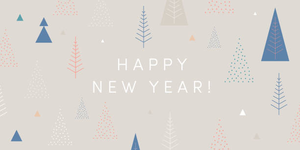 Happy New Year! Season's greetings card. Cool geometric style, trendy  minimalist design. Christmas trees, snowflakes, light gray color block background. Festive greeting card, stylish retail banner New Year Day vector designs for print and digital: banners, e-commerce, newsletter headers, retail posters as well as stationery, greeting cards, cards, decoration. australian christmas stock illustrations
