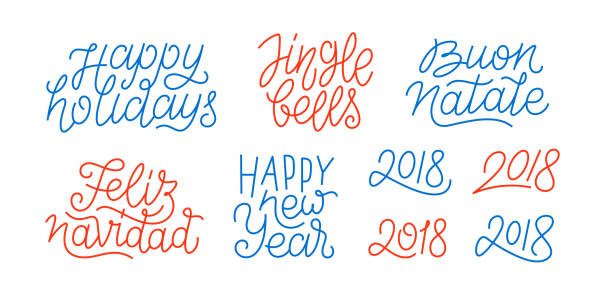 Happy New Year, set of numbers 2018, Feliz Navidad, Buon Natale, Happy Holidays line art calligraphic lettering quotes isolated on white background. Editable stroke. Vector typography design Merry Christmas and Happy New Year line art text navidad stock illustrations