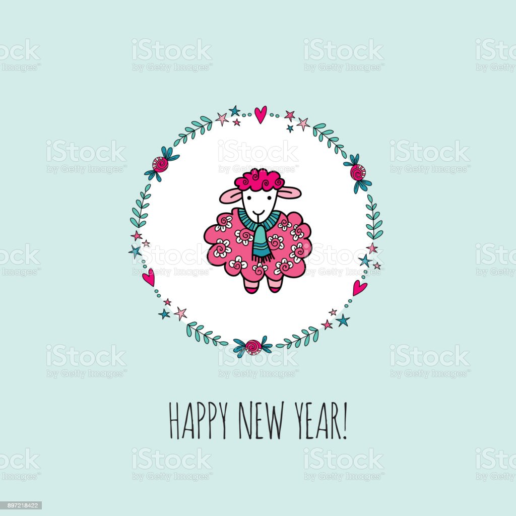happy new year sheep vector illustration royalty free stock vector art