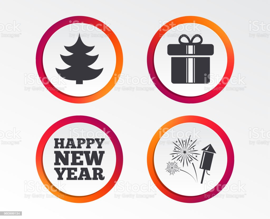 Happy new year sign. Christmas tree and gift box. vector art illustration
