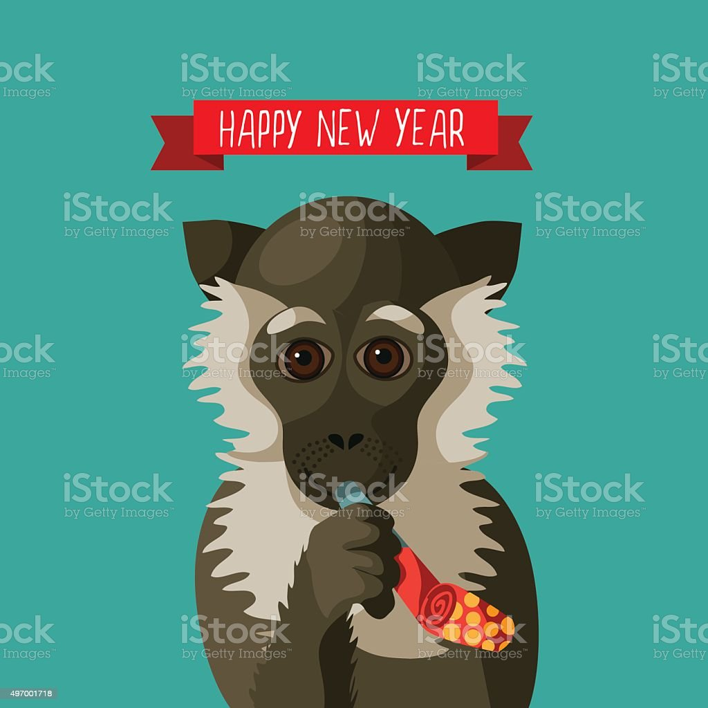 happy new year smiling cartoon monkey holding festive party blower royalty free happy new year