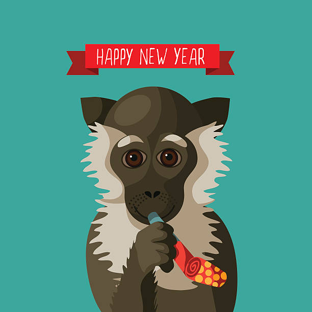 happy new year smiling cartoon monkey holding festive party blower vector art illustration