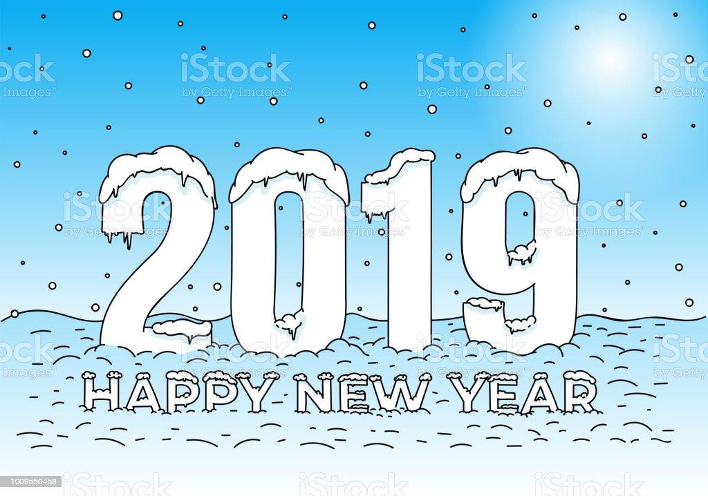 Kleurplaten Gelukkig Nieuwjaar.Gelukkig Nieuwjaar Sneeuw Caps Op Cijfers En Letters Kleurplaat 2019