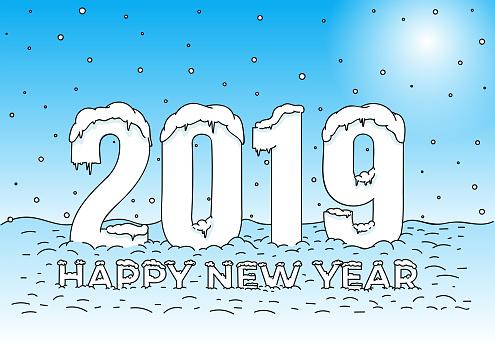 Kleurplaten Gelukkig Nieuwjaar 2019.Gelukkig Nieuwjaar Sneeuw Caps Op Cijfers En Letters Kleurplaat 2019