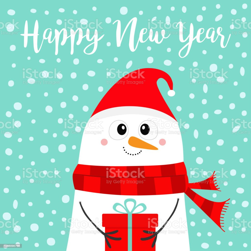 36768f3b8c9d6 Happy New Year Snowman Holding Gift Box Present Carrot Nose Red ...
