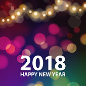 Celebrate happy New Year 2018 with the sparkle lights background