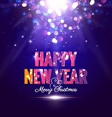 Happy new year sparkling poster with magic lights. Vector illustration