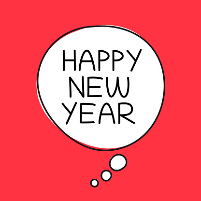 Happy New Year Speech Bubble Banner Design Concept