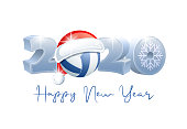 2020. Happy New Year! Sports greeting card with Volleyball ball and Santa Claus hat. Vector illustration.