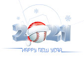 istock 2021. Happy New Year! Sports greeting card with a baseball ball and Santa Claus hat. 1199330180
