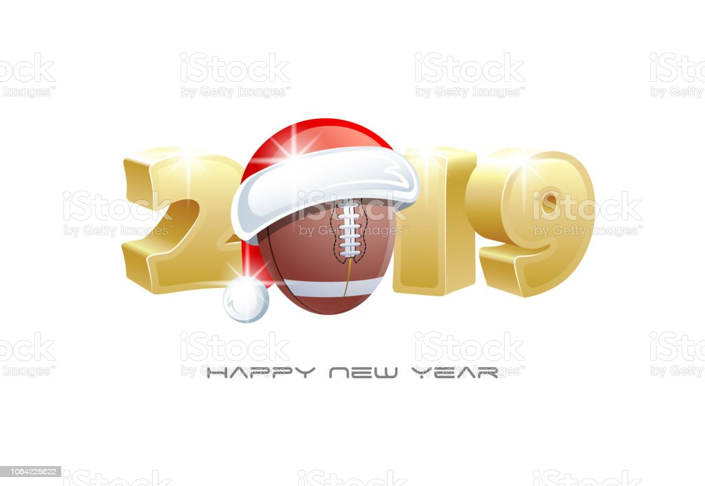 2019 Happy New Year Sports Greeting Card With American Football Ball
