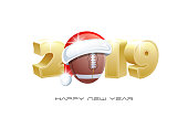 2019. Happy New Year! Sports greeting card with American Football ball and Santa Claus hat. Vector illustration.