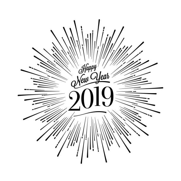 Happy New Year Starburst White. Vector illustration. Happy New Year Card with Starburst. Vector illustration. pyrotechnic effects stock illustrations