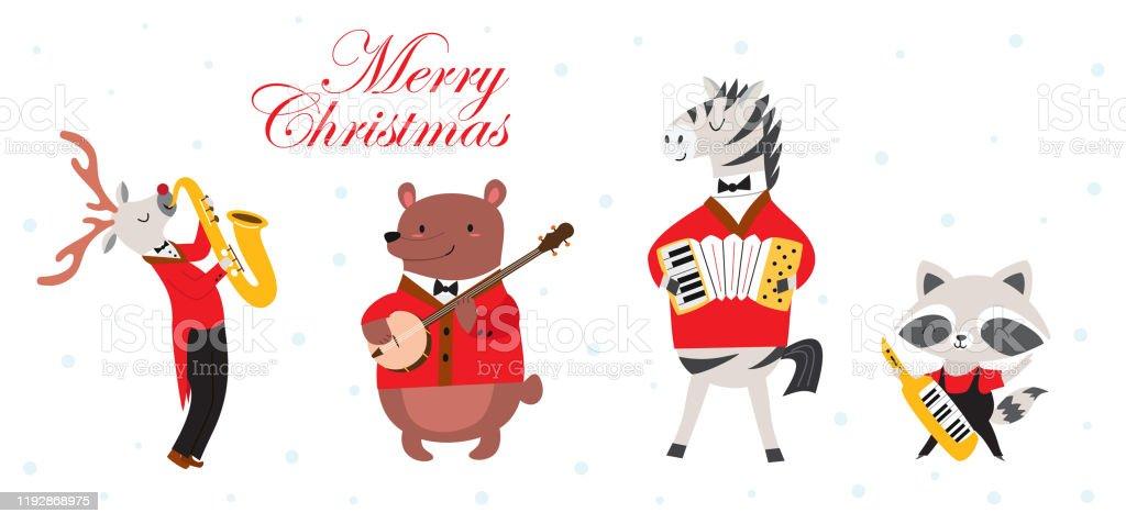 明けましておめでとう漫画スタイルでかわいい動物バンドとスタイリッシュなカードやポスター音楽フェスティバルで動物のミュージシャンとベクターイラスト アライグマのベクターアート素材や画像を多数ご用意 Istock