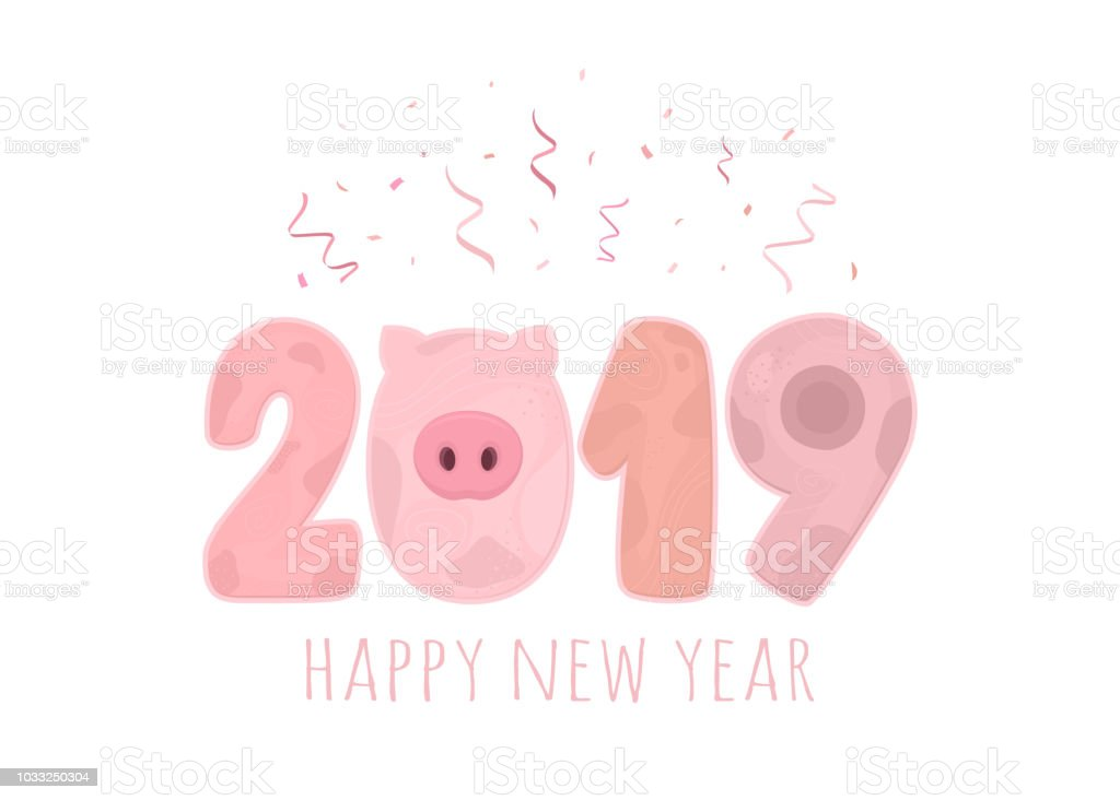 2019 Happy New Year Stylized Figures In Pig Style Isolated On White ...