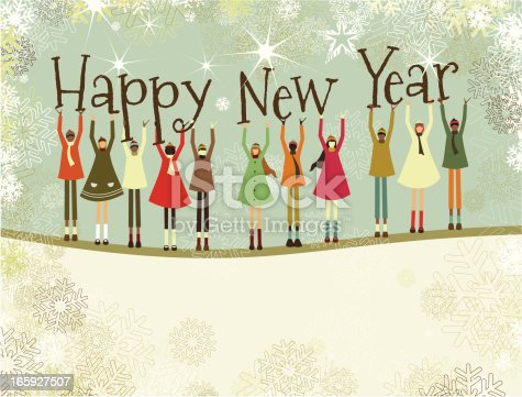istock Happy New Year text and christmas children 165927507