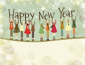 Multiethnic group of children holding types for Happy New Year. Copy space at the bottom.