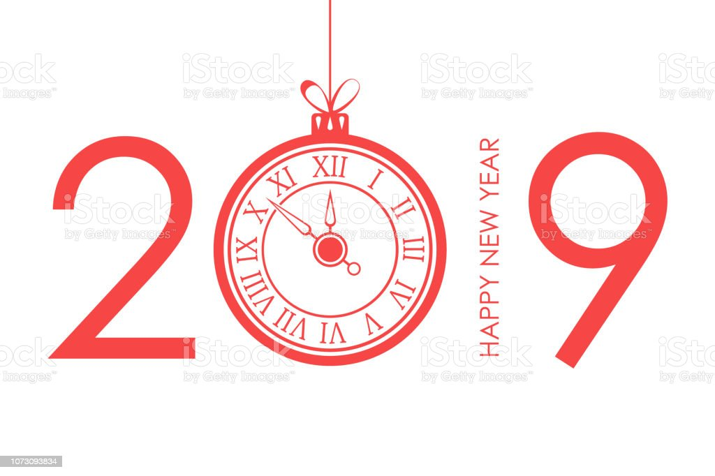 Happy New Year text design with christmas ball and new year clock....