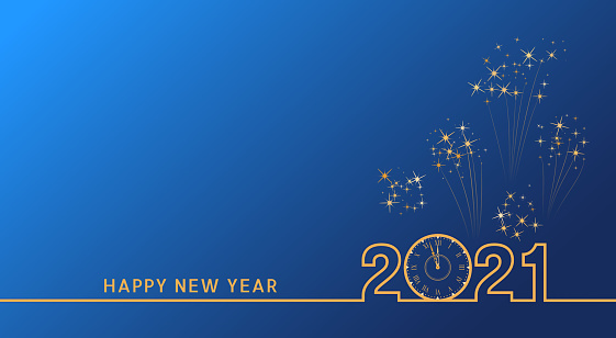 2021 Happy New Year text design with golden numbers and vintage clock on blue background with fireworks. Holiday banner, poster, greeting card or invitation template. End of the year countdown.