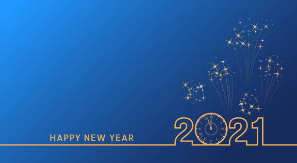 2021 Happy New Year text design with golden numbers and vintage clock on blue background with fireworks. Holiday banner, poster, greeting card or invitation template. End of the year countdown. 2021 Happy New Year text design with golden numbers and vintage clock on blue background with fireworks. Holiday banner, poster, greeting card or invitation template. End of the year countdown. happy new year 2021 stock illustrations