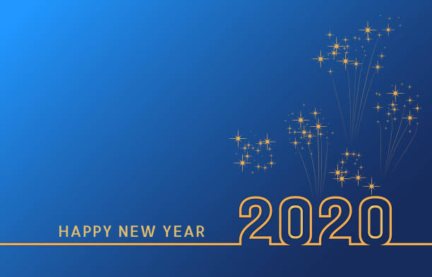 2020 happy new year text design with golden numbers on blue background with fireworks. holiday banner, poster, greeting card or invitation template. year of the rat. copy space. vector illustration - happy new year stock illustrations