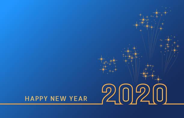 ilustraciones, imágenes clip art, dibujos animados e iconos de stock de 2020 feliz año nuevo diseño de texto con números dorados en fondo azul con fuegos artificiales. banner de vacaciones, cartel, tarjeta de felicitación o plantilla de invitación. el año de la rata. copiar espacio. ilustración vectorial - víspera de año nuevo