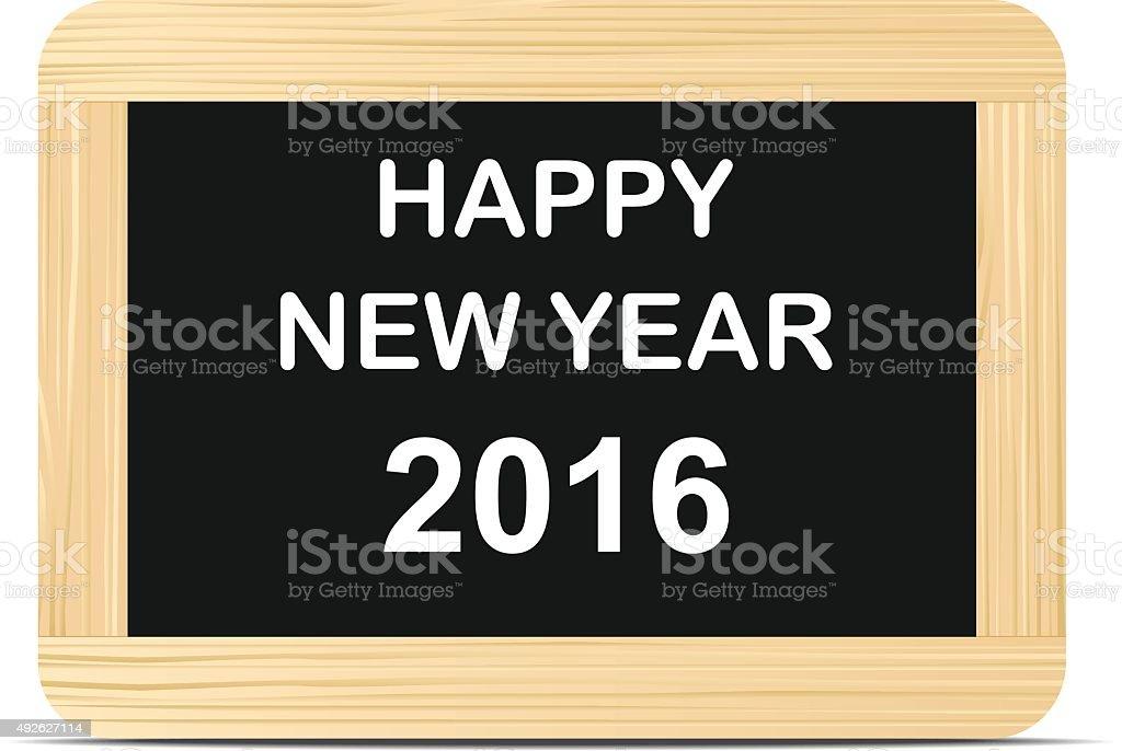 Heureuse nouvelle année texte sur Tableau noir - Illustration vectorielle