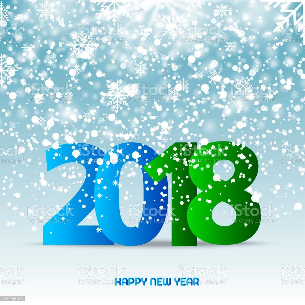 青色の背景を雪が降るに幸せな新年のテキスト2018 ベクトル 2018年の