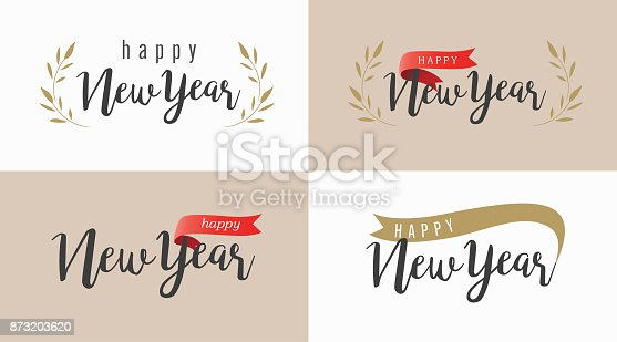 happy new year text symbol or banner classic font vintage style with red ribbon wreath and olive golden color and black vector illustration stock vector art