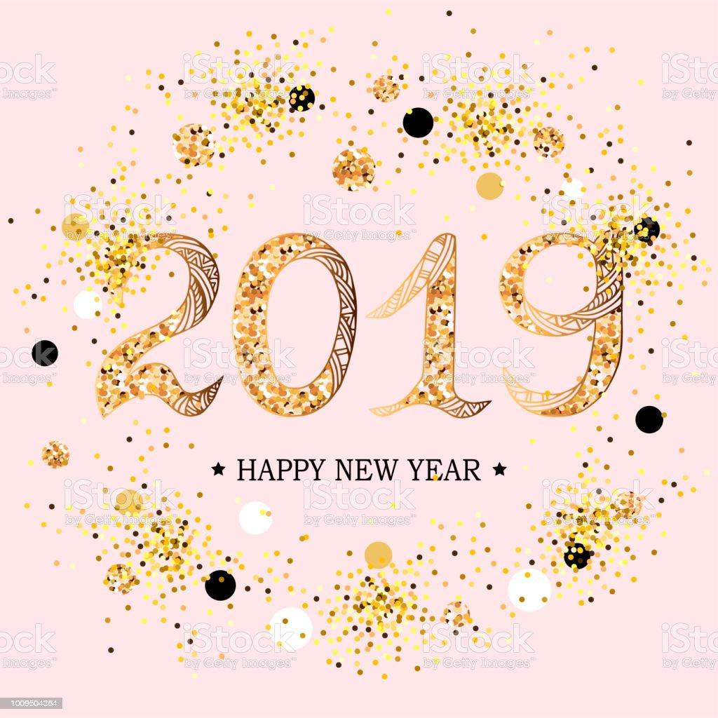 2019 新年あけましておめでとうございますのテキスト。 ベクターアートイラスト