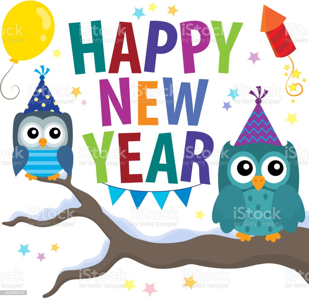 happy new year theme with owls royalty free happy new year theme with owls stock