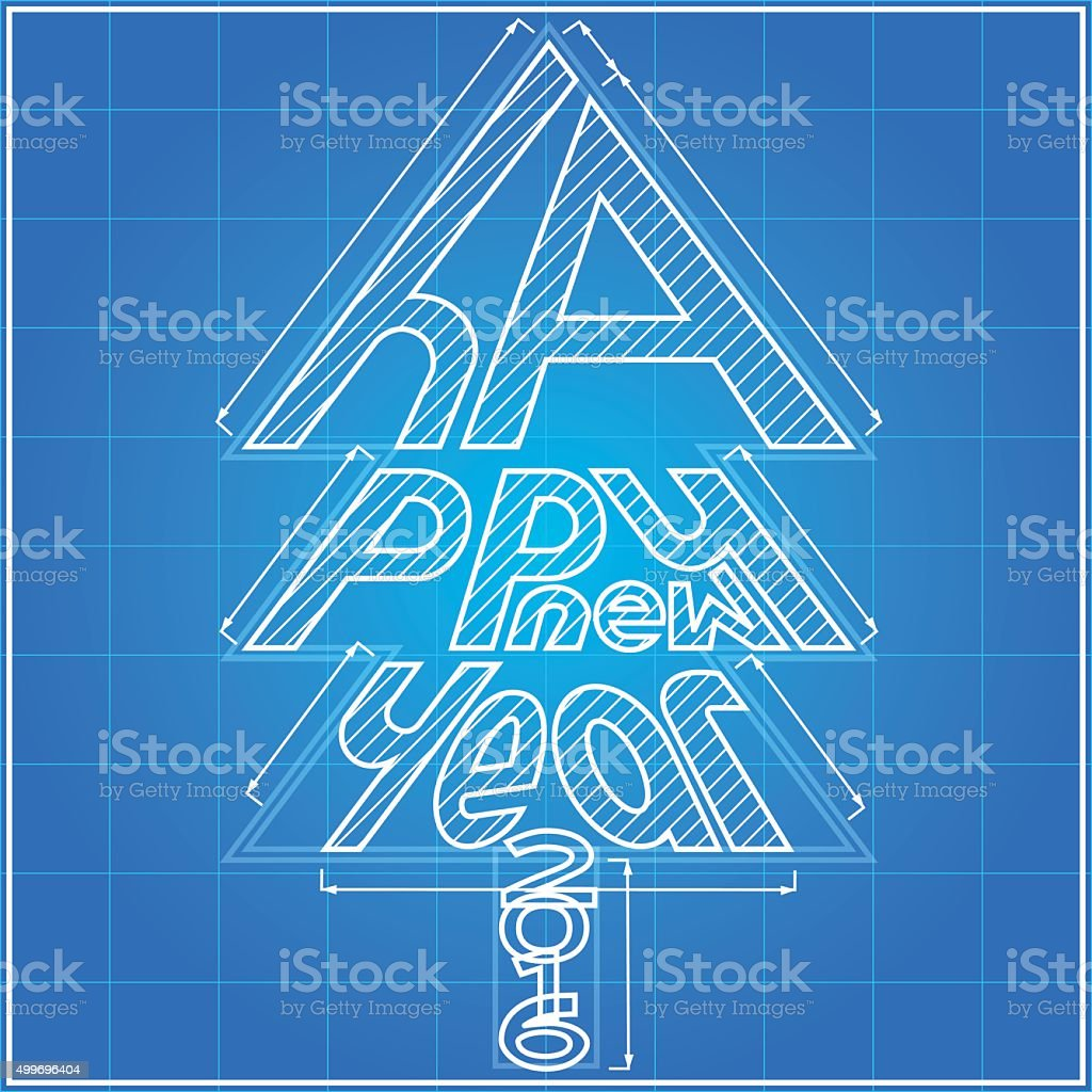 Happy new year tree blueprint stock vector art 499696404 istock 2015 2016 blueprint illustration new years eve malvernweather Image collections