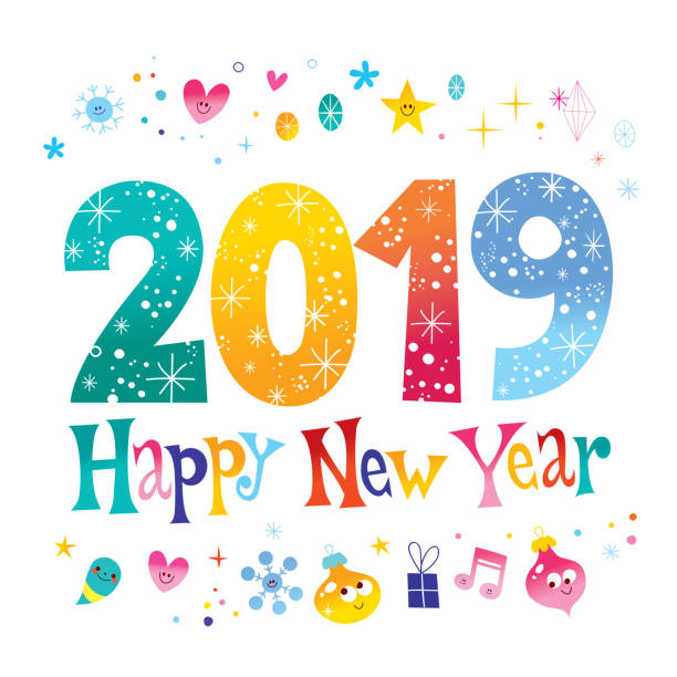2019 happy new year two thousand nineteen vector art illustration