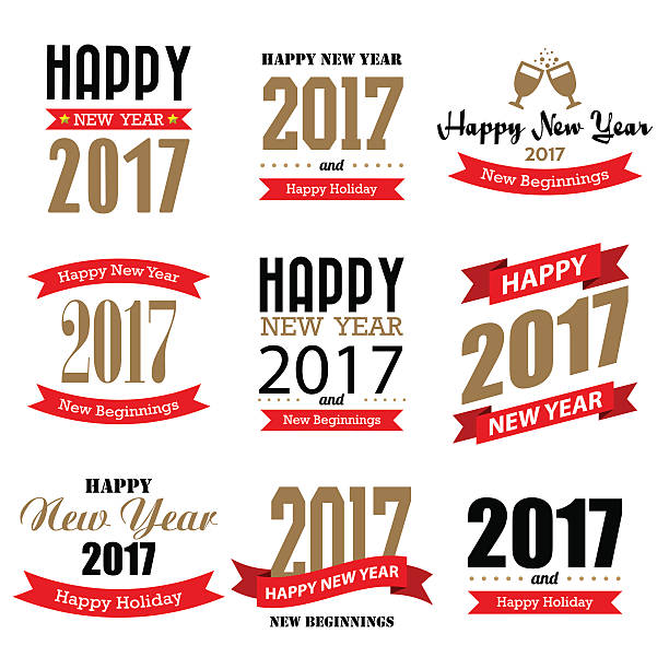 happy new year typographic design vector art illustration