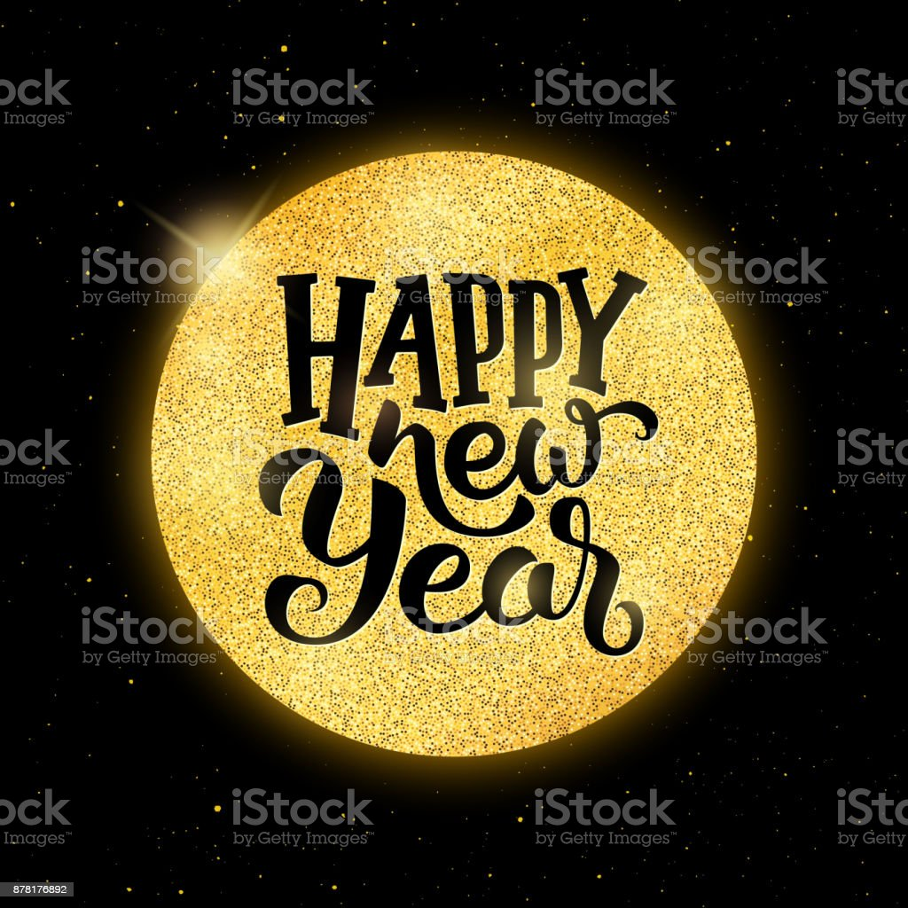 Happy New Year Typographic Text On Golden Christmas Ball Over Black
