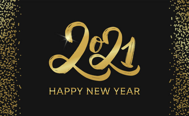 2021 Happy new year typography poster. Golden text 2021 logo. Gold Festive Numbers Design. Happy New Year Banner with 2021 Numbers. Vector illustration EPS 10 new years day stock illustrations