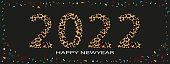 istock Happy New Year Typography text 2022 font with wild leopard skin on black background,Trendy Lettering and colourful paper cut elements for Greeting card or banner for Chinese new year,Year of the tiger 1305351670