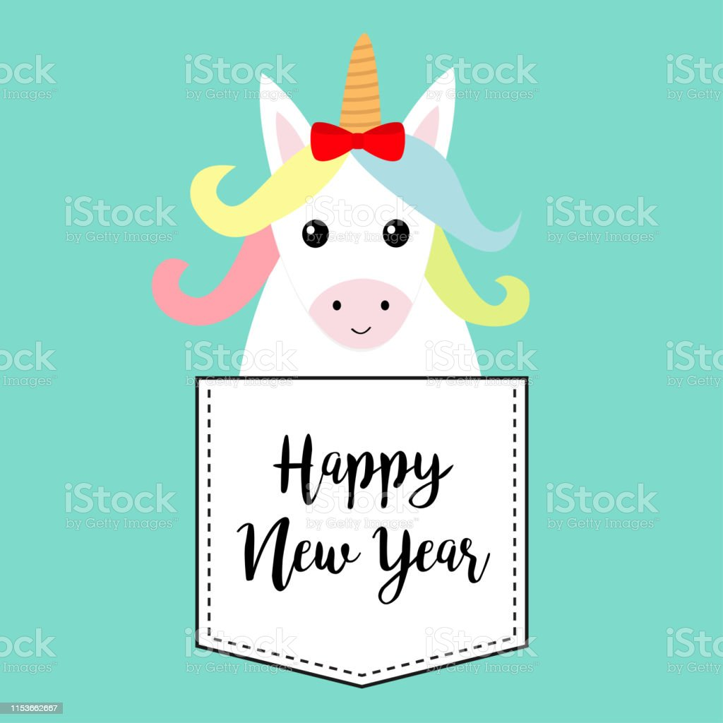 Frohe Weihnachten Pferd.Frohes Neues Jahr Unicorn Pferd Sitzt In Der Tasche Roter Bogen