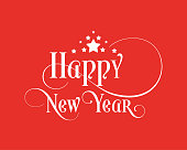 Happy New Year Unique Hand-drawn Typography with Red Background Color with Stars. Great Design Element for Congratulation Cards, Invitation Card, Greeting Card.
