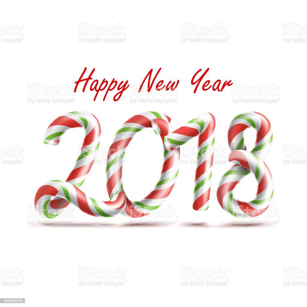 Vectores De Feliz Año Nuevo 2018 3d Signo De Número En Colores De ...