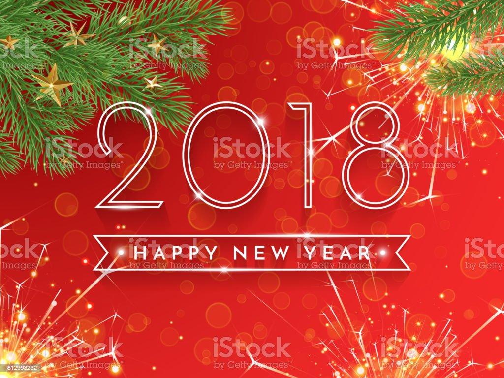 2018 Happy New Year Vector Achtergrond Met Kerstboom Frame Van Spar