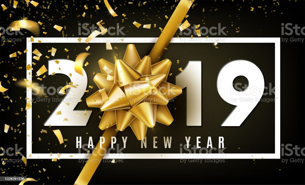 2019 happy new year vector background with golden gift bow confetti white numbers and